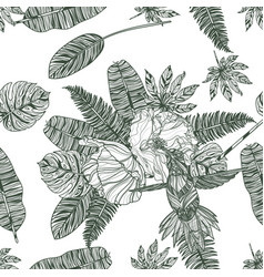 leaves poppies and hummingbird seamless pattern vector image