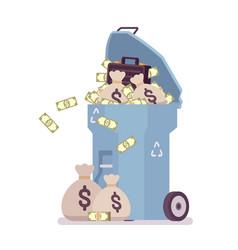 Light blue trash bin with money vector