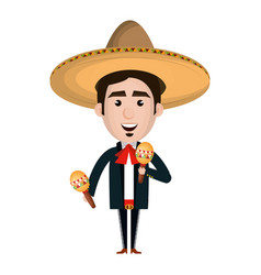 mexican mariachi with maracas avatar character vector image