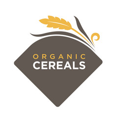 organic cereals logo ears of wheat symbol isolated vector image