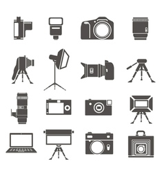 Photo equipment sillhouettes vector image vector image