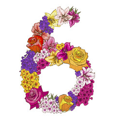 six digit made of different flowers vector image