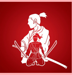 2 samurai composition with swords cartoon graphic vector image