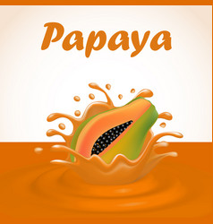 a splash of juice from a falling papaya and drops vector image
