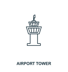 airport tower icon outline thin line style from vector image