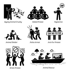 Animal activists organization and people stick vector