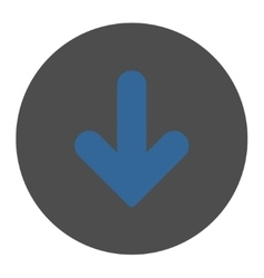 Arrow Down flat cobalt and gray colors round vector