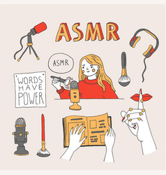 Asmr triggers and equipment set vector