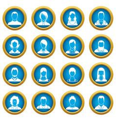 avatars set icons blue circle set vector image