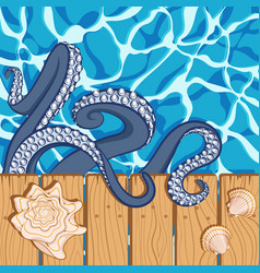 Background with water shells and octopus vector