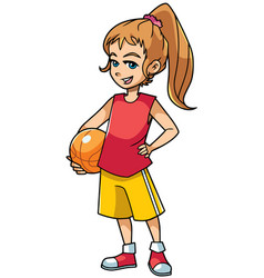 basketball girl on white vector image