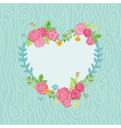Beautiful card with floral heart wreath vector