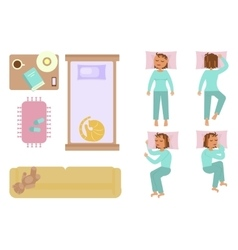 Bedroom and sleeping woman vector