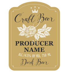 beer label with malt hops and inscriptions vector image