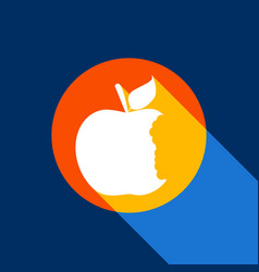 Bited apple sign white icon on tangelo vector