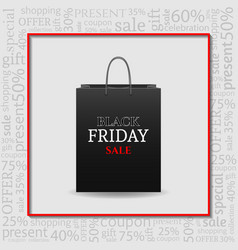 Black friday advertising poster with shopping bag vector