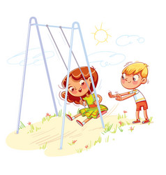 boy shakes the girl on a swing at the playground vector image