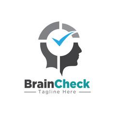 Brain and mind check logo designs health vector