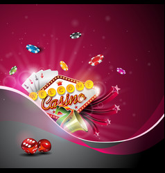 casino with color playing chips and vector image