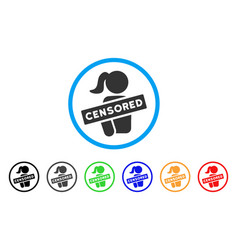 Censored naked woman rounded icon vector