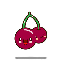 cherry cartoon character icon kawaii flat design vector image