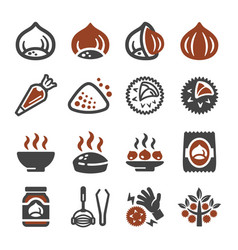 Chestnut icon set vector