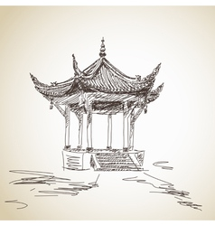 chinese pavilion vector image