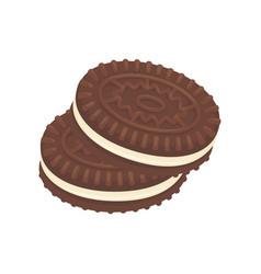 Chocolate cookies dessert icon vector