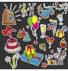 Colored sketch party objects hand-drawn vector
