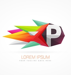 Colorful abstract logo with letter P vector
