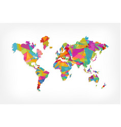 Colorful triangle world map concept vector