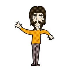 Comic cartoon waving man with mustache vector