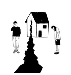 Concept divorce crack in relationships family vector