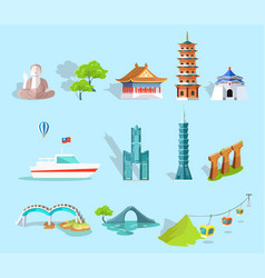 concept of taiwan attractions graphic art design vector image
