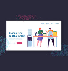 Couple man and woman food video bloggers vector