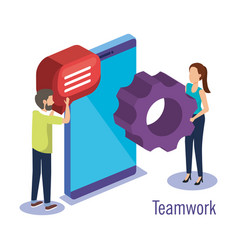 couple teamwork with smartphone vector image