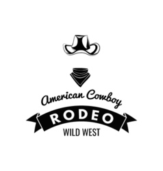 Cowboy hat Wild West Label Rodeo Competition Badge vector