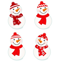 cute snowmen collection vector image