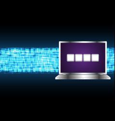 Cyber security pin password laptop vector