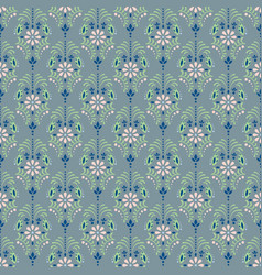 Damask dusty blue floral seamless pattern vector
