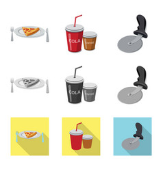 design pizza and food symbol set of vector image
