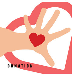 Donation with heart on hand in color vector