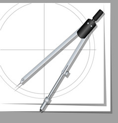 Drawing compasses drawings on paper vector