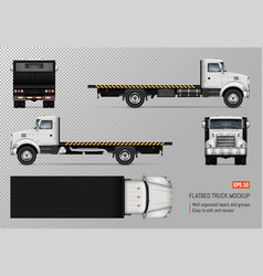 Flatbed truck template vector