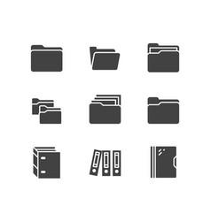 Folder flat glyph icons document file vector