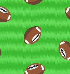 Footballs on field seamless pattern vector