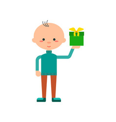 Funny little boy with gift box icon vector