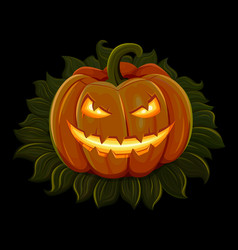 halloween pumpkin is smiling isolated on black vector image