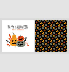halloween pumpkins with funny faces and a pattern vector image