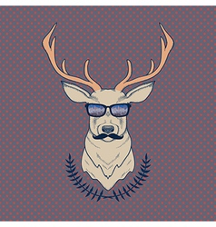 hand drawn colorful hipster deer with mus vector image